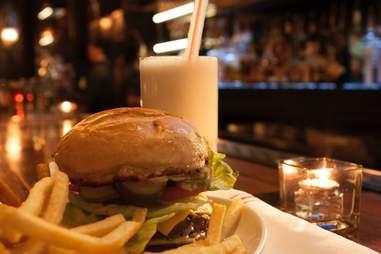 boston chops late night menu hamburger fries and milkshake