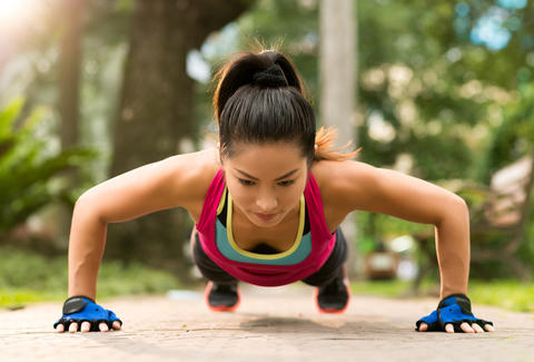 girl doing a pushup