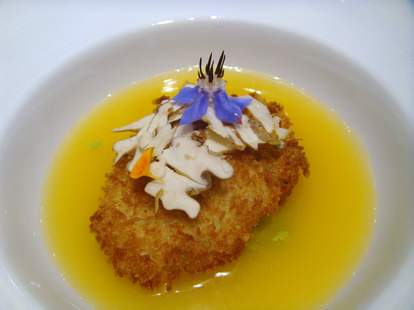 orange and mussel consommé
