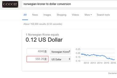 Dollar to Norwegian Kroner conversion