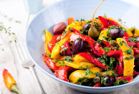yellow and red bell pepper salad vegan