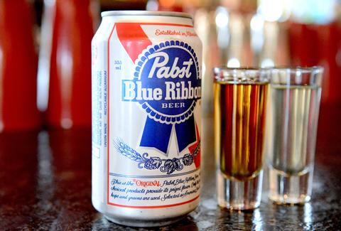 pbr and a shot close up louie's