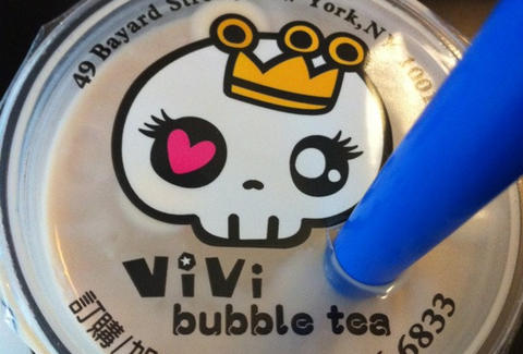 vivi bubble tea cup close up nyc