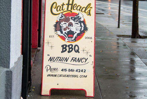 catheads bbq san francisco sign exterior