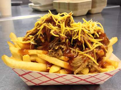 fries with pulled pork chili and cheese smokin' warehouse barbecue
