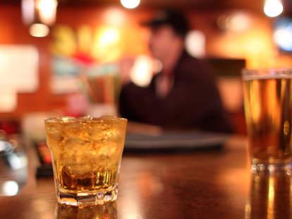 dive bar, whisky, beer
