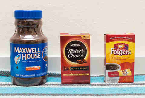 nescafe, maxwell house, and folger's instant coffee