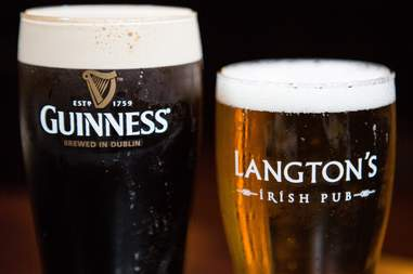 Langton's Irish pub two beers and guinness