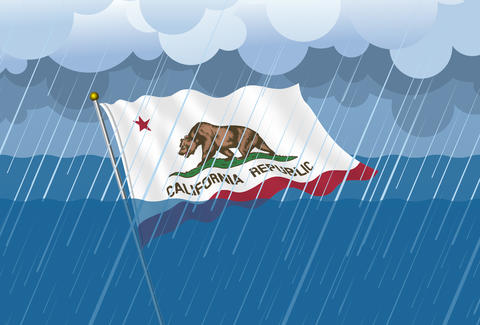 California Flag submerged in water