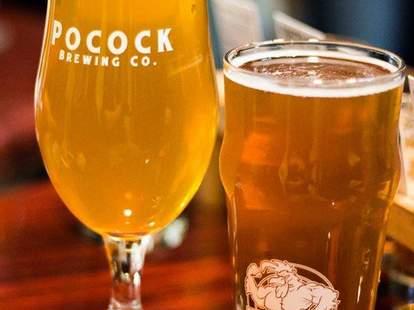 Pocock Brewing Company beer glasses la ca