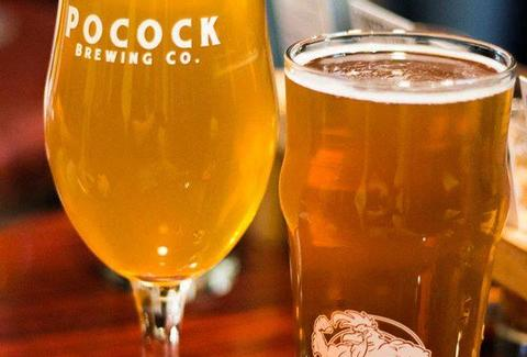 Pocock Brewing Company beer glasses la ca