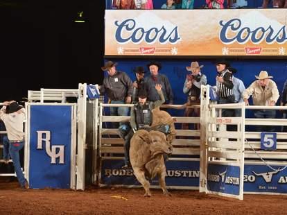 Austin rodeo, man riding bull