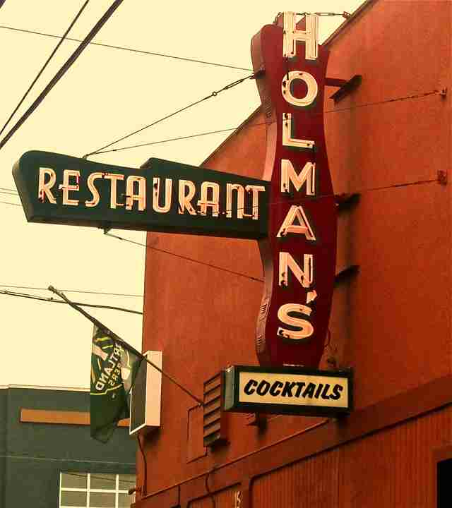 holman's cocktails sign portland