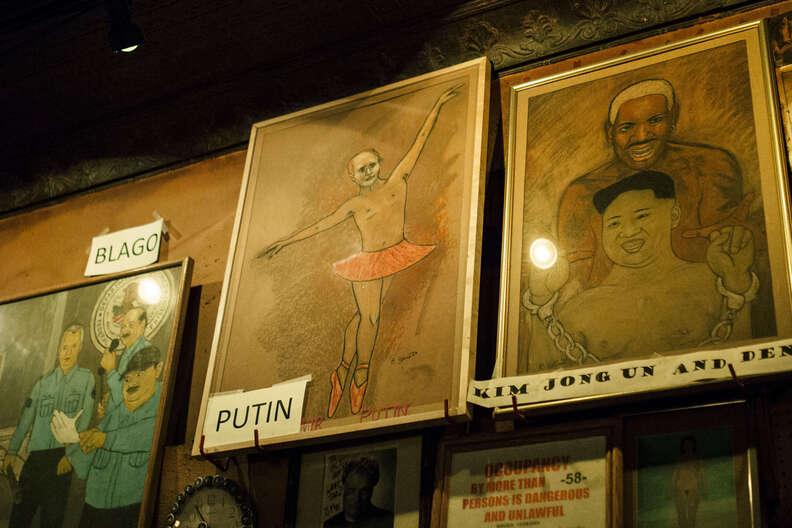 painting of putin in bar