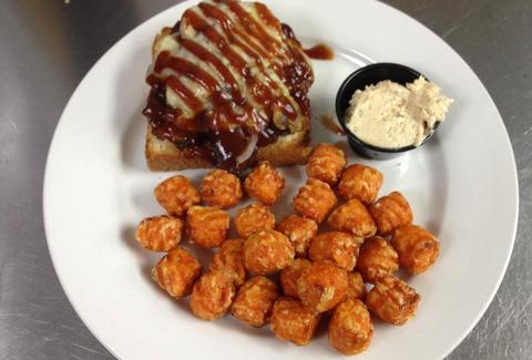 Mac's Place Open Face Brisket Sandwich with Sweet Potato Tots charleston sc