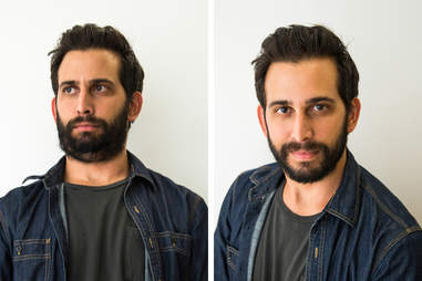 Before/after picture of man taking profile picture