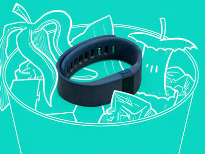 Jason Hoffman Thrillist illustration of FitBit fitness tracker in trash