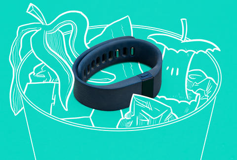 Jason Hoffman Thrillist illustration of FitBit fitness tracker in trash