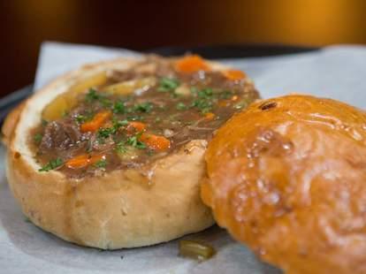 Langton's Irish Pub Irish stew in the rosmary potato bread bowl