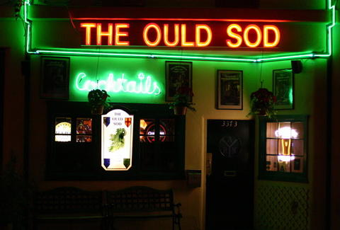 The Ould Sod exterior neon lights