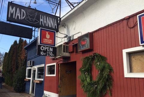 Mad Hanna dive bar exterior in Portland