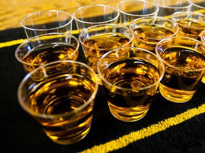 whiskey, whiskey shots, shot glasses