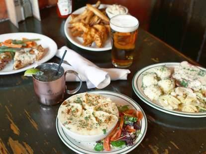 The Field Irish Pub table pie fries beer chicken