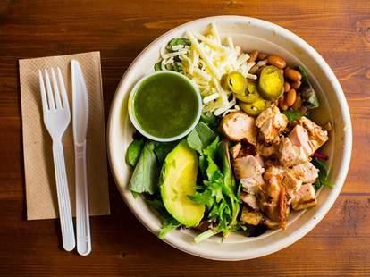 Anna's Taqueria, salad, burrito bowl