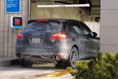 Porsche in a car wash
