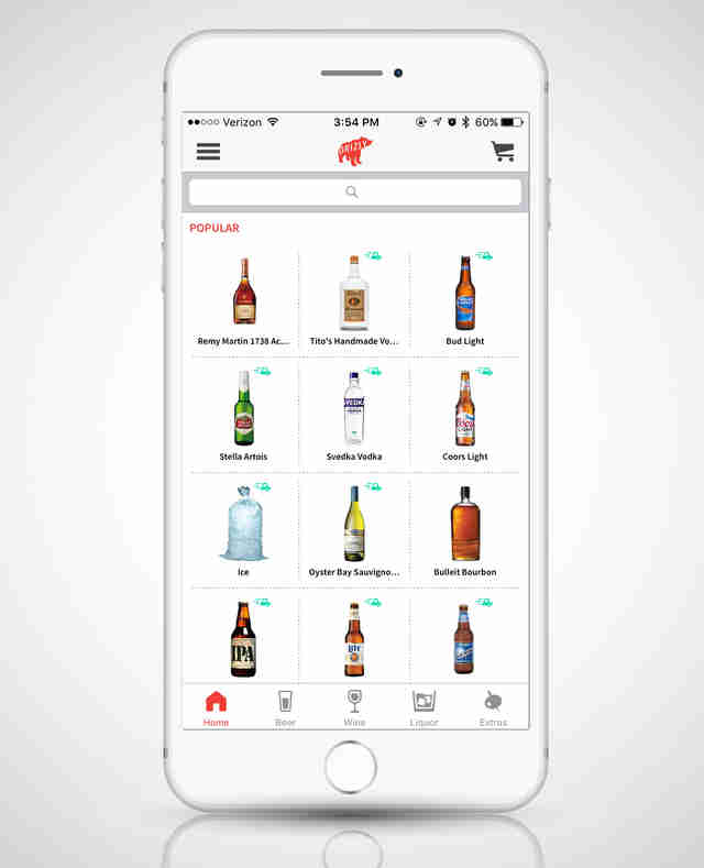 Drizly app, alcohol delivery app