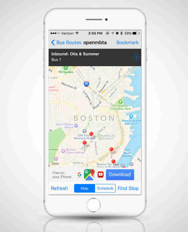 OpenMBTA app, map apps
