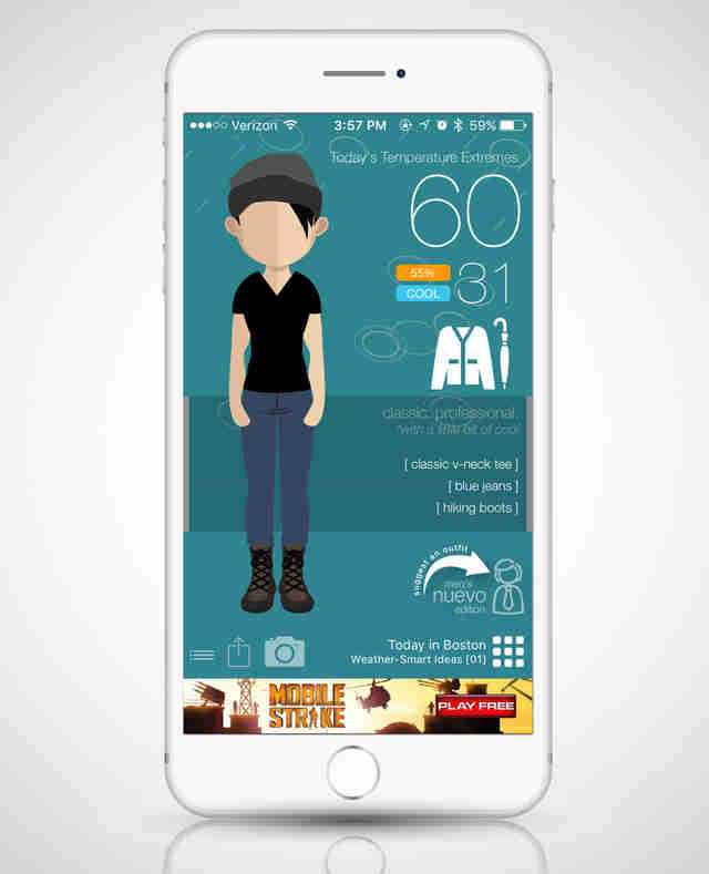 Swackett app, weather app, clothing app