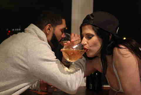 drinking champagne with drake lookalike