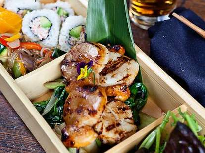 O-Ku bento box sushi salad