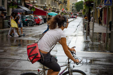 Biker in rain