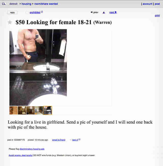 Screenshot via Craigslist