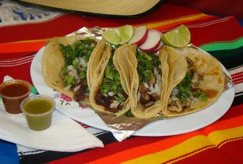 Tacos at La Mexicana Bakery & Taqueria