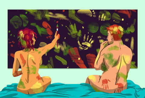 naked paint party illustration