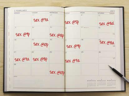 "Calendar schedule with ""sex"" written in pen"