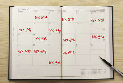 "Calendar schedule with ""sex"" written in pen"