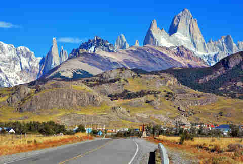 Fitz Roy peaks in the Andes mountains in Patagonia and town of El Chalten