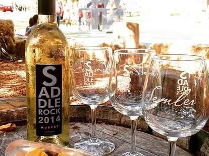 Malibu Wines outdoors bottle and glasses