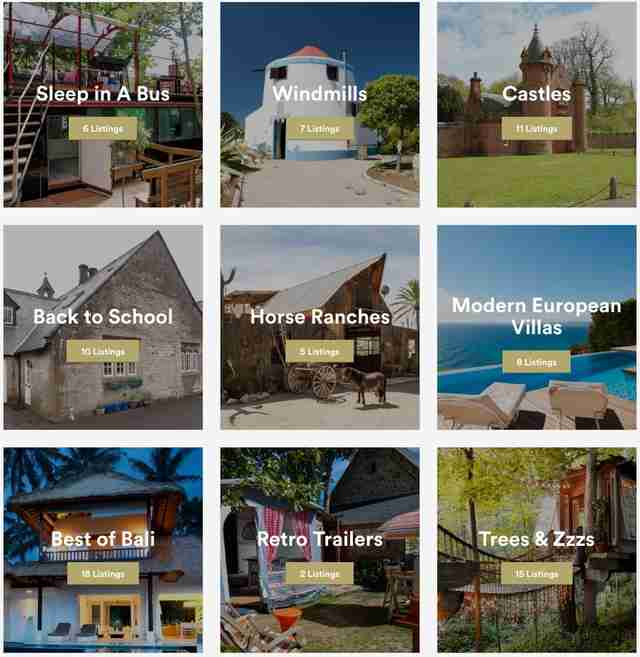 screenshot of airbnb picks