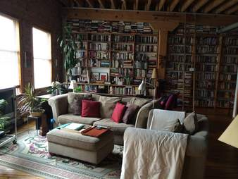 library/living room in an airbnb listing