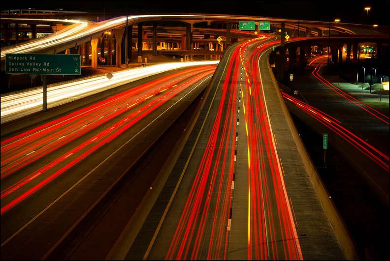 high five interchange at night dallas texas