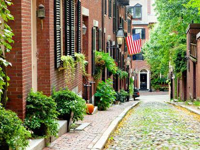 Beacon Hill, Boston, cobblestone street, Historic Boston