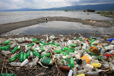 discarded plastic bottles pollution