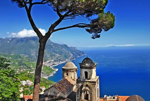 amalfi coast beachside over head image