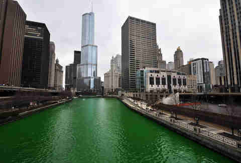 green river chicago skyline st. patrick's day
