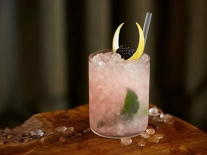 Mondrian London Catkin: Mr. Lyan gin, blackberry, lemon, birch wine & leaf, mint, caraway